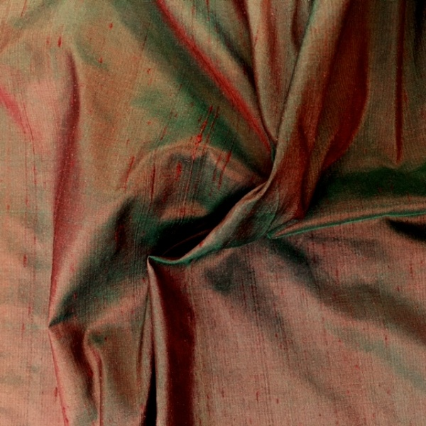 Dupion Silk - RED GREEN