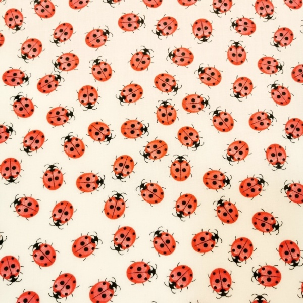 Red Ladybirds Polycotton