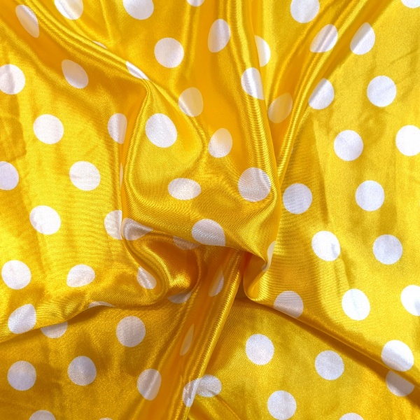 White Polkadots on Yellow Satin