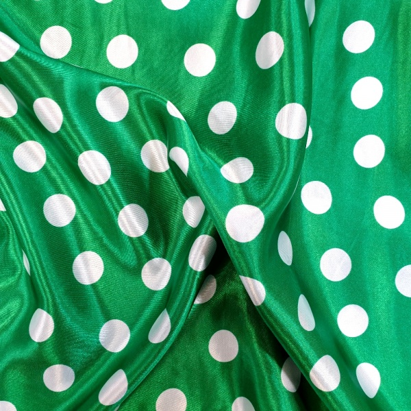 White Polkadots on Green Satin