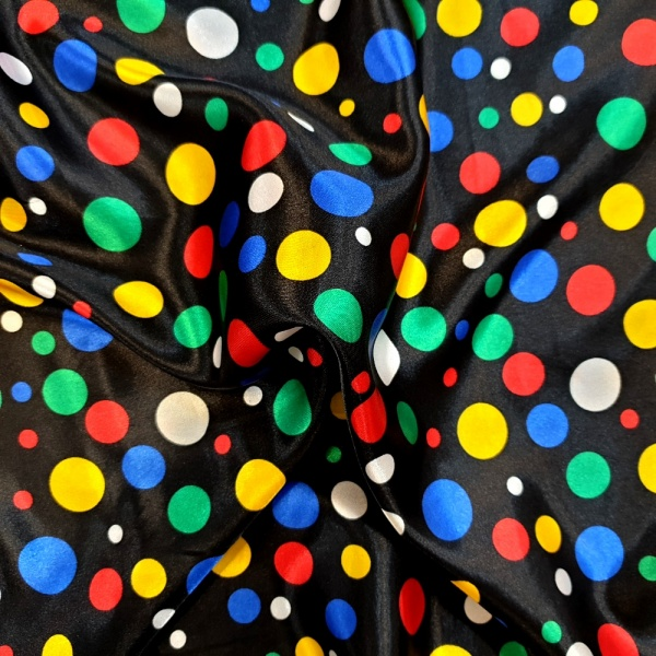 Multi Coloured Polkadot on Black Satin
