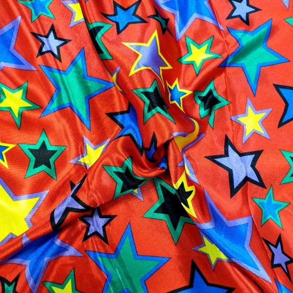 Multi Stars on Red Satin