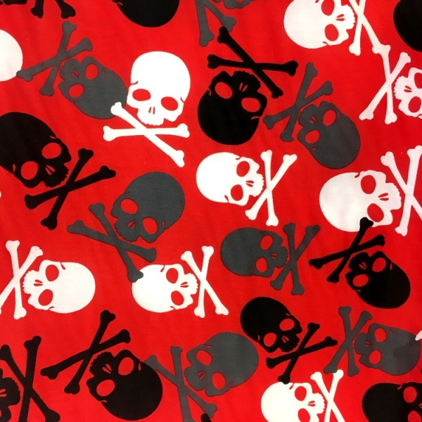 Halloween Fabric Multi Skulls on Red