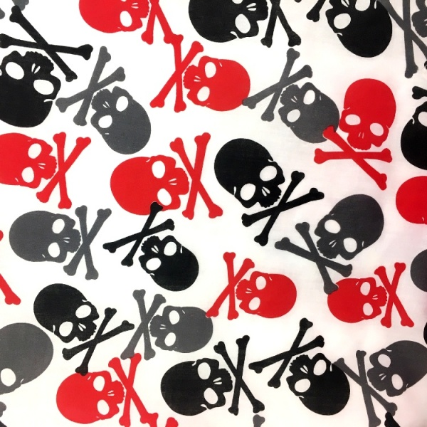 Halloween Fabric Multi Skulls on White