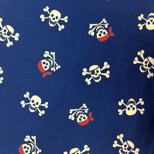 Halloween Fabric Skulls on Royal Blue
