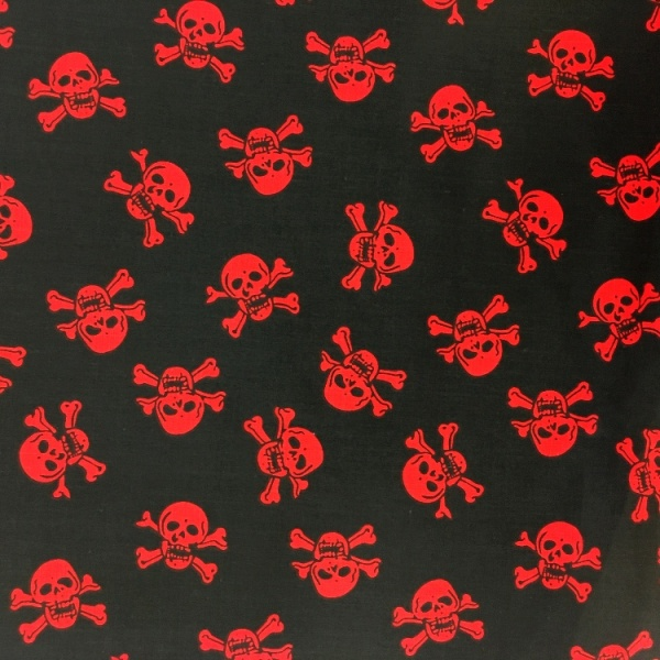 Halloween Fabric Red Skulls on Black