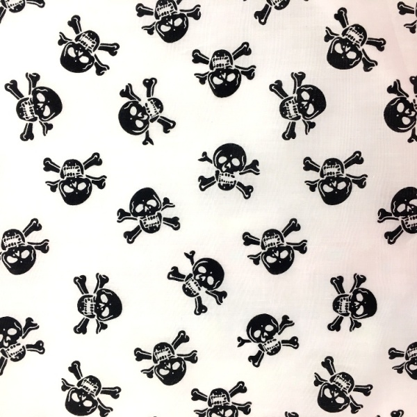 Halloween Fabric Black Skulls on White