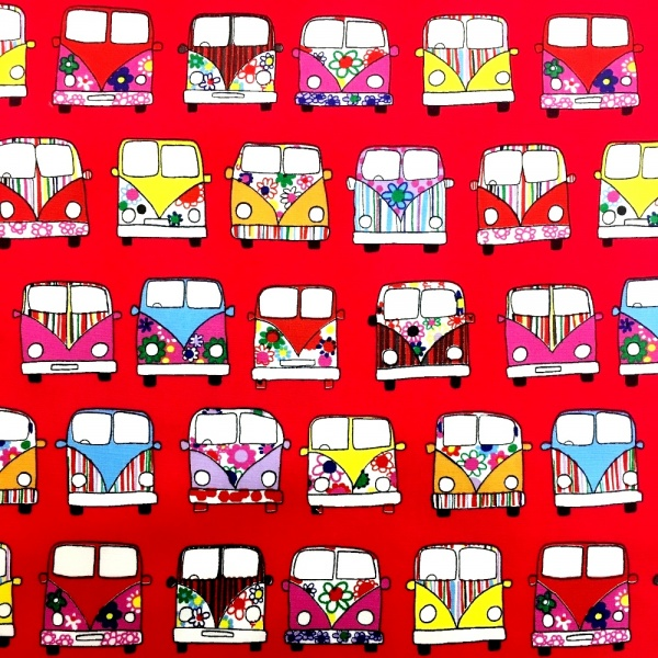 CAMPER VAN 100% COTTON RED