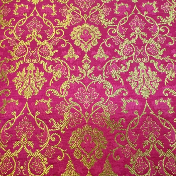 Indian Banarsi Silk Brocade CERISE