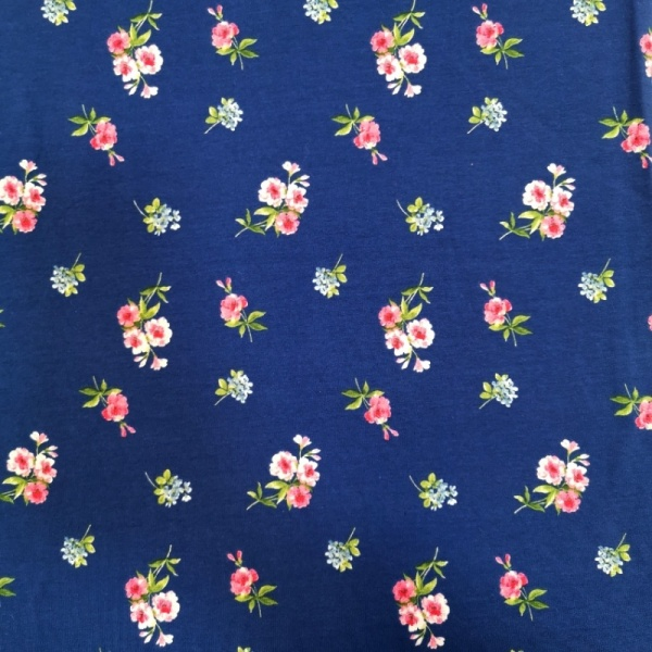 PRINTED JERSEY - Spring Floral Navy