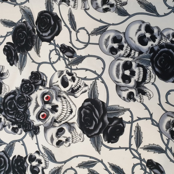 100% Cotton BLACK SKULLS on IVORY