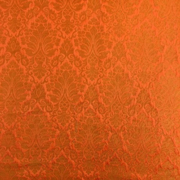 Indian Faux Silk Brocade ORANGE