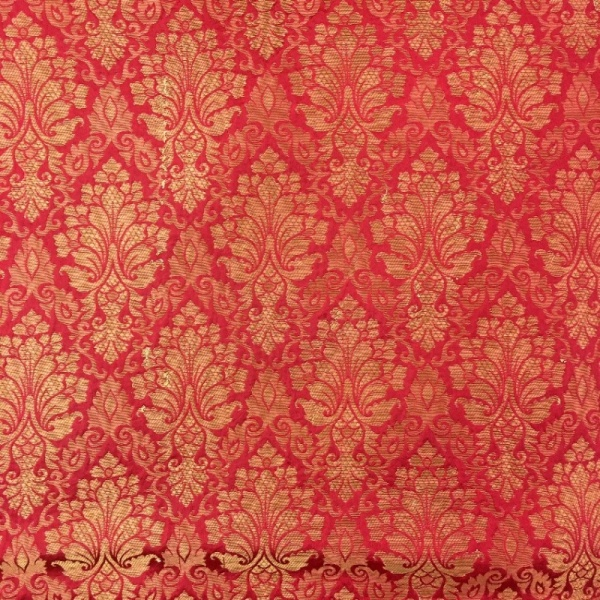 Indian Faux Silk Brocade RED