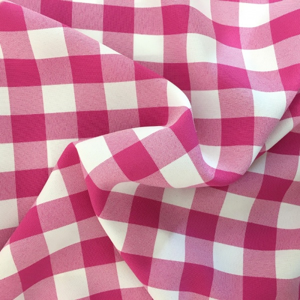 Polyester Check Cerise