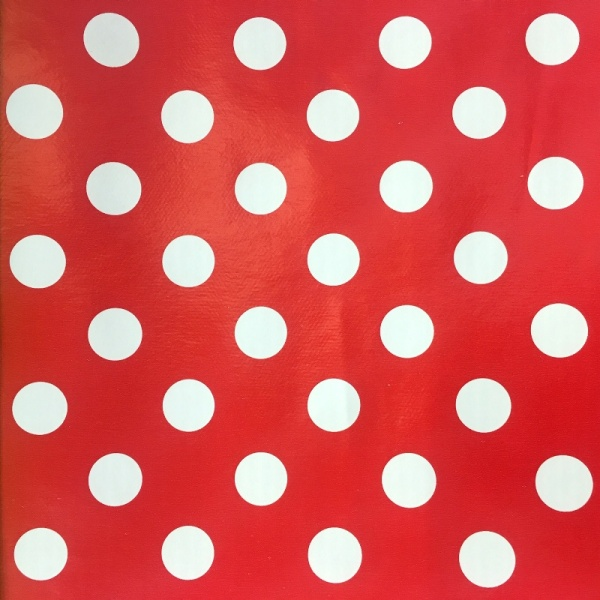 Polka Dot Vinyl White on Red 17mm