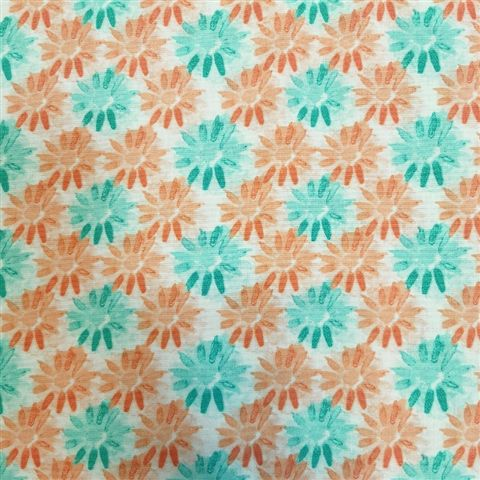 100% Cotton - Coral & Turq Flowers