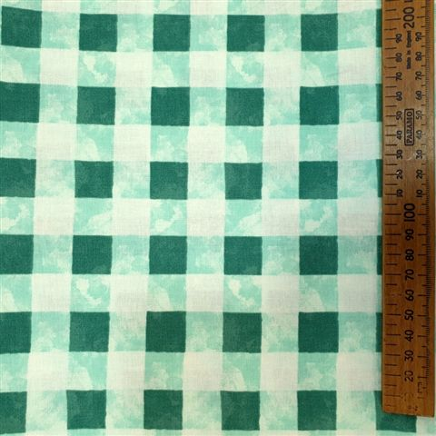 100% Cotton - Turquoise Check