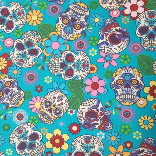 100% Cotton MULTI SKULLS on TURQUOISE