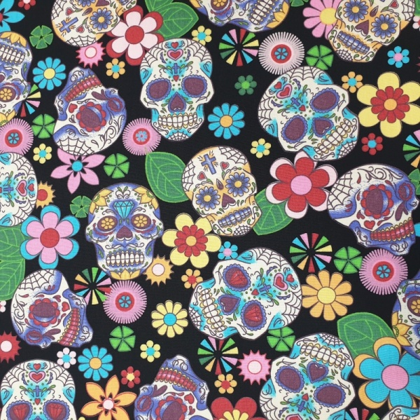 100% Cotton MULTI SKULLS on BLACK