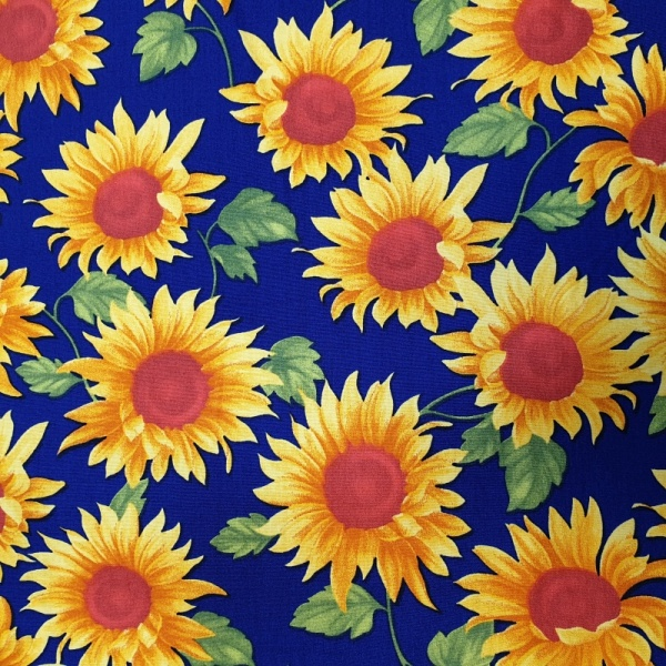 Floral Poplin Design 29 SUNFLOWERS on BLUE