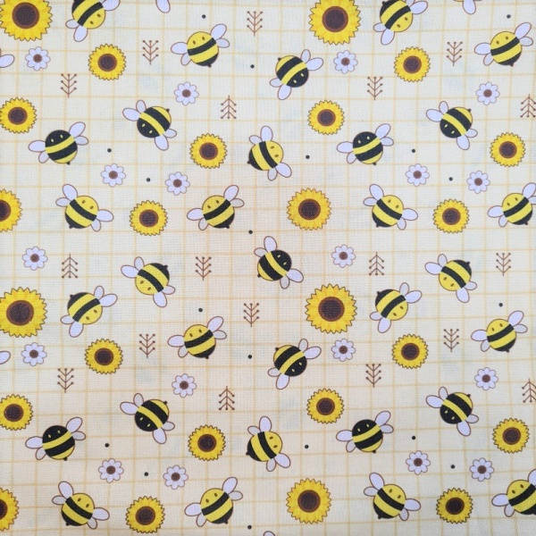 100% Cotton - BUZZY BEES with FLOWERS