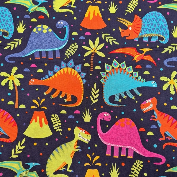 100% Cotton - Dinosaurs world on Navy