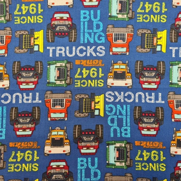100% Cotton - Tonka Trucks Buildings