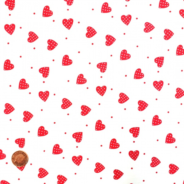 Heart Cotton Red Spotted Hearts on White