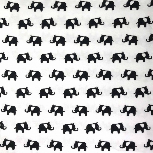 PRINTED JERSEY - Black Elephants