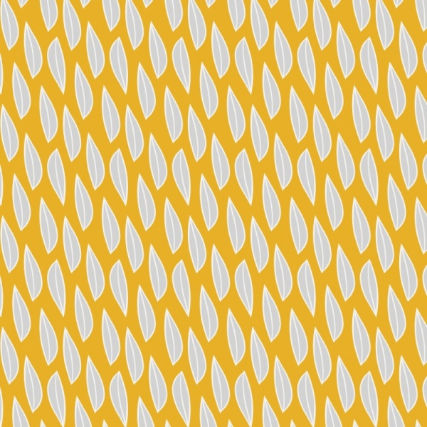 100% Cotton - GREY FERNS ON MUSTARD