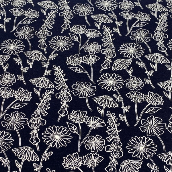 PRINTED JERSEY - Outline Flowers Navy