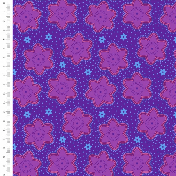 100% Cotton - PURPLE FLOWERS