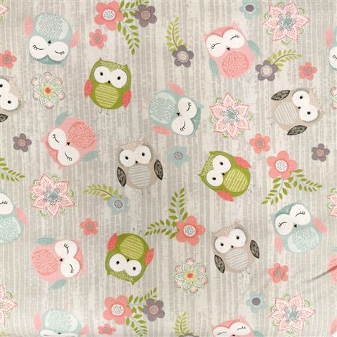 100% Cotton - Owls on Grey