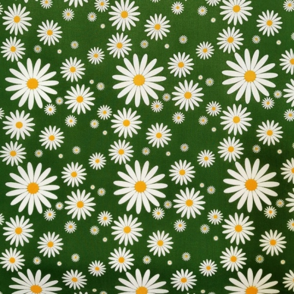 Polycotton Daisies GREEN