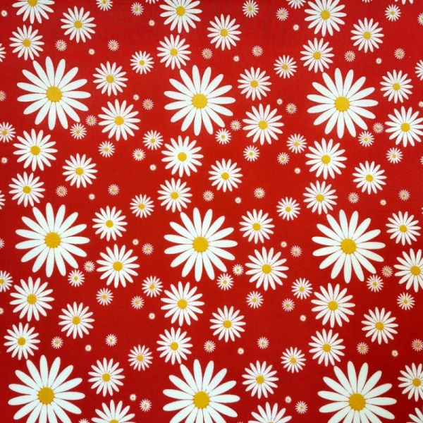Polycotton Daisies Red