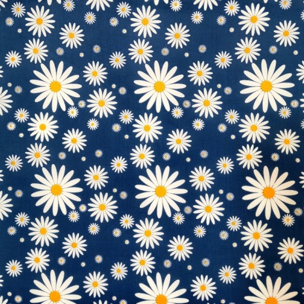 Polycotton Daisies ROYAL BLUE