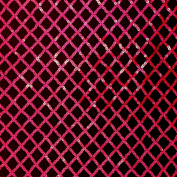 Diamond Sequin Spandex Mesh Cerise