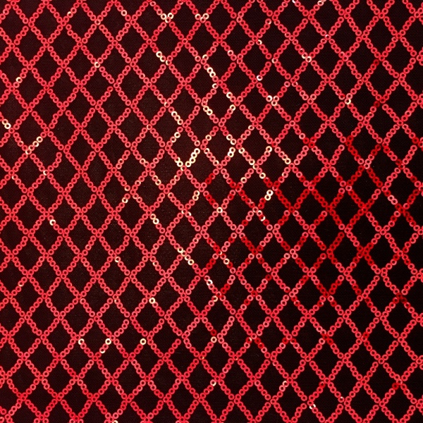 Diamond Sequin Spandex Mesh Red