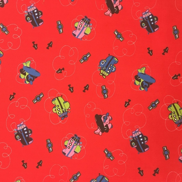 Aeroplanes Polycotton RED