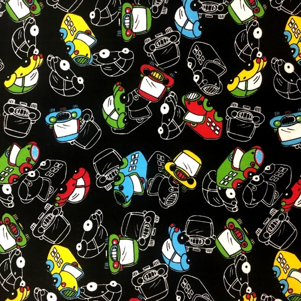 Cars Polycotton BLACK