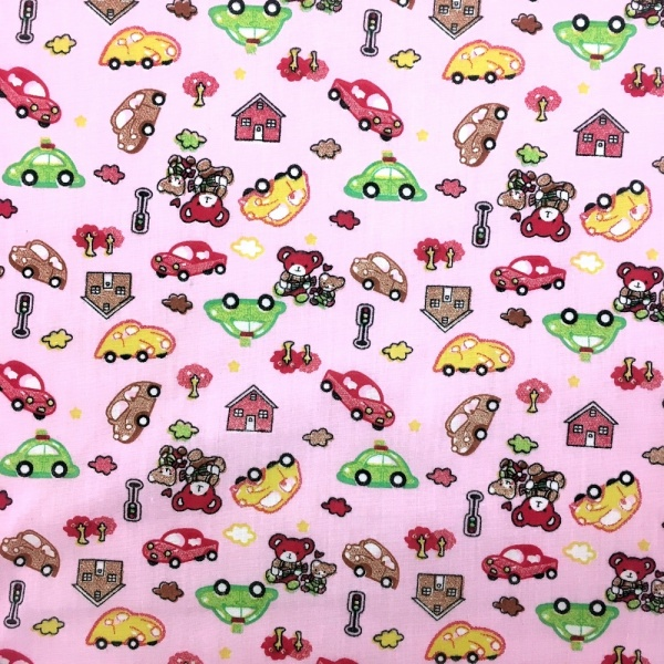 Bears/Cars Polycotton PINK