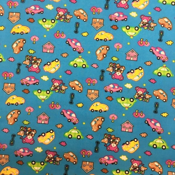 Bears/Cars Polycotton TURQUOISE