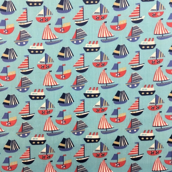 Sailboat Polycotton BLUE