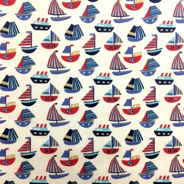 Sailboat Polycotton WHITE