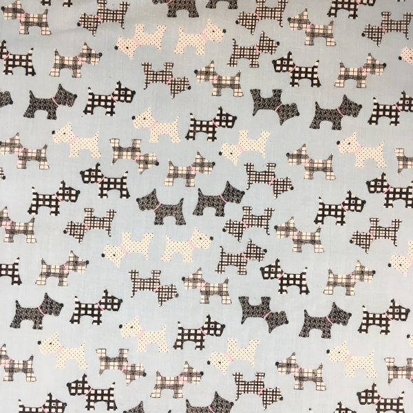 Scottie Dog Polycotton BLUE