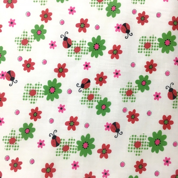 Ladybirds and Flowers Polycotton GREEN