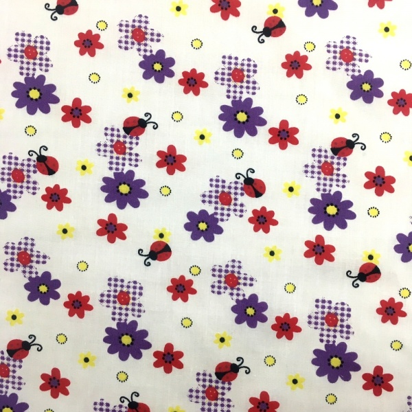 Ladybirds and Flowers Polycotton PURPLE