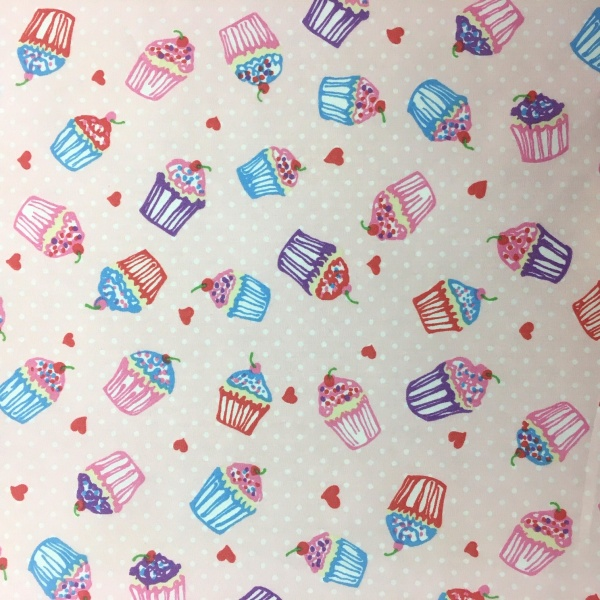 100% Cotton Cupcakes PINK