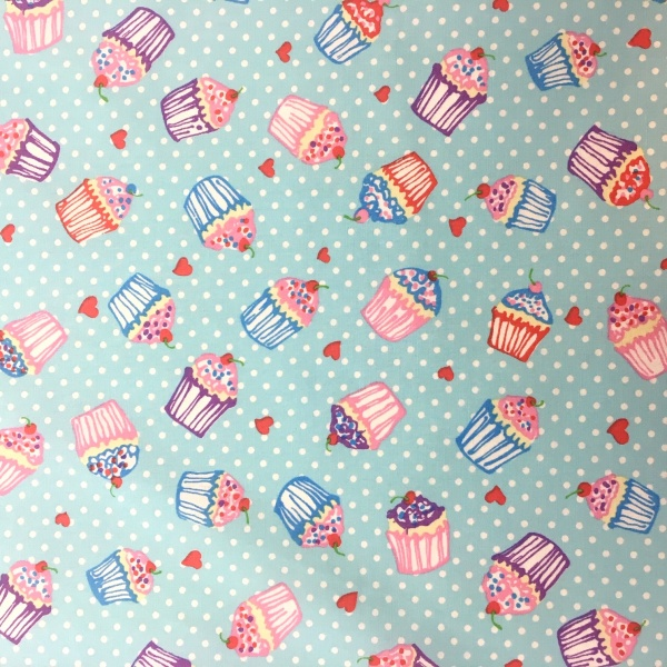 100% Cotton Cupcakes SKY BLUE