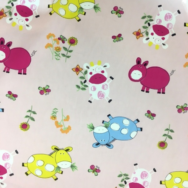 100% Cotton COW ON PINK
